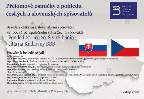 Přelomové osmičky z pohledu českých a slovenských spisovatelů